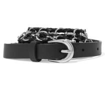 Chain-trimmed Braided Leather Belt Schwarz