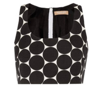 Cropped polka-dot cotton and silk-blend matelassé top
