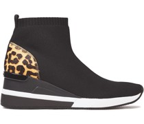 Leopard-print Calf Hair-paneled Stretch-knit Sneakers