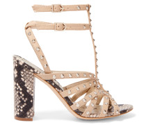 Yadria Studded And Snake-effect Leather Sandals Beige