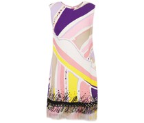 Embellished Printed Linen-gauze Mini Dress