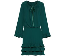 Tiered Velvet-trimmed Crepe De Chine Mini Dress