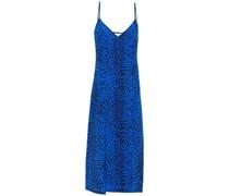 Slip Dress in Midilänge aus Seiden-crêpe mit Leopardenprint