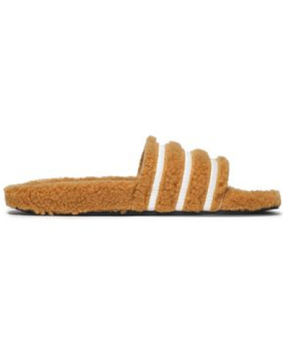 Striped Faux Shearling Slides Light Brown