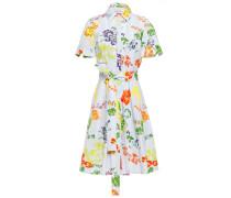 Belted Printed Stretch-cotton Poplin Shirt Dress