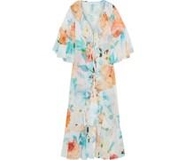 Jessi Kimono aus Georgette mit Floralem Print, Rüschen und Bindedetail Vorne