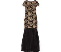 Embroidered Tulle Gown Schwarz