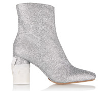 Glittered Leather Ankle Boots Silber