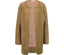 Two-tone Ribbed Wool-blend Cardigan Armeegrün