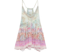 Woman Electron Libre Crystal-embellished Layered Printed Silk-georgette Camisole Baby Pink