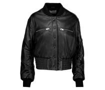 Colombe Teddy Leather Bomber Jacket Schwarz
