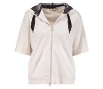 Silk Organza-paneled Cashmere And Cotton-blend Hooded Sweatshirt Wollweiß