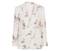 Woman Double-breasted Embroidered Linen Blazer Cream