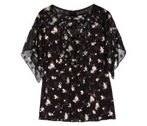 Printed Fil Coupé And Crepe Blouse Schwarz