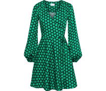 Siena Polka-dot Satin-twill Mini Wrap Dress
