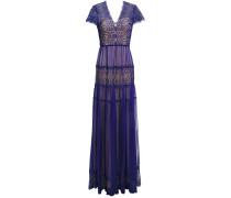 Nyree Lace-paneled Gathered Chiffon Gown
