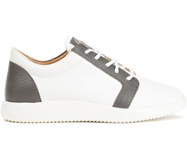 Zweifarbige Sneakers aus Leder