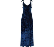 Bow-detailed crushed velvet gown