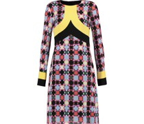 Paneled Printed Silk-blend Dress