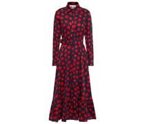 Augusta Hemdkleid in Midilänge aus Baumwollpopeline mit Floralem Print und Gürtel