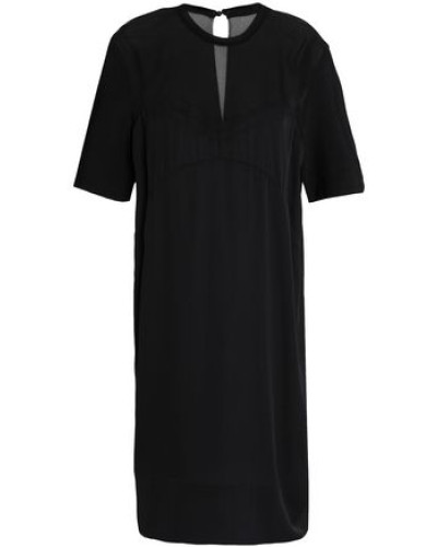 Chiffon-paneled Stretch-silk Mini Dress Black