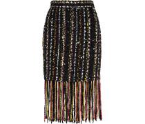 Fringed Embellished Bouclé-tweed Skirt Mehrfarbig