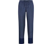 Hadley Printed Silk-twill Track Pants Navy