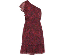 Printed Silk-georgette Dress Dunkellila