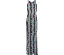 Floral-print Silk And Chiffon Maxi Dress Schwarz