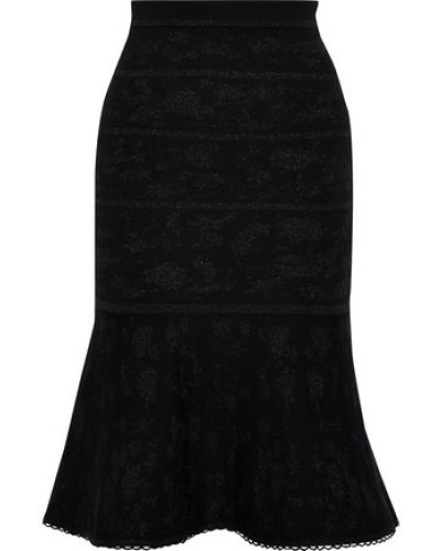 Metallic Wool-blend Jacquard Skirt Black