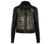 Lamé Jacquard-paneled Faux Leather Jacket Schwarz