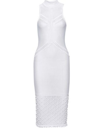 Pompom-embellished Pointelle-knit Dress White