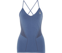 Astor Mesh-paneled Stretch-jersey Tank Blau