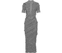 Shirred Gingham Cotton-blend Poplin Midi Dress