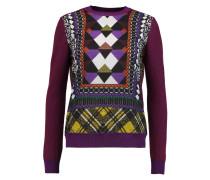 Printed Chiffon-paneled Wool Sweater Lila