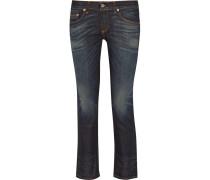 Cropped Mid-rise Slim-leg Jeans Dunkler Denim