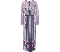 Satin-trimmed Embroidered Point D'esprit Midi Dress