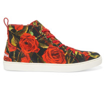 Floral-print Canvas High-top Sneakers Tomatenrot