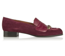 Leather-trimmed Suede Loafers Merlot