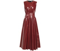 Gathered Vinyl Midi Dress