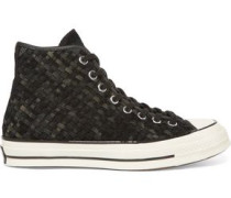 Woven suede high-top sneakers