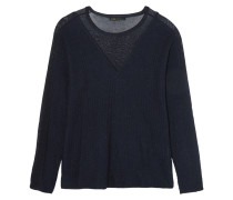 Chiffon-paneled Ribbed Cotton Sweater Mitternachtsblau