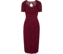 Open Knit-trimmed Corded-lace Midi Dress Burgunder