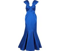 Pleated Duchesse-satin Gown
