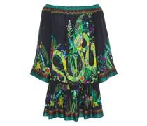 River Cruise Gathered Embellished Silk Crepe De Chine Mini Dress
