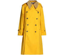 Convertible corduroy-trimmed coated-cotton trench coat