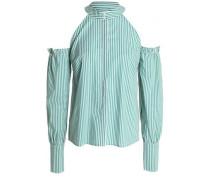 Cold-shoulder striped cotton-poplin shirt