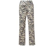 Hose mit Schmalem Bein aus Webstoff mit Pailletten und Zebraprint