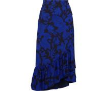 Silva Asymmetric Ruffled Floral-print Crepe Midi Skirt
