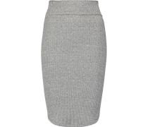 Ribbed Stretch-jersey Skirt Grau